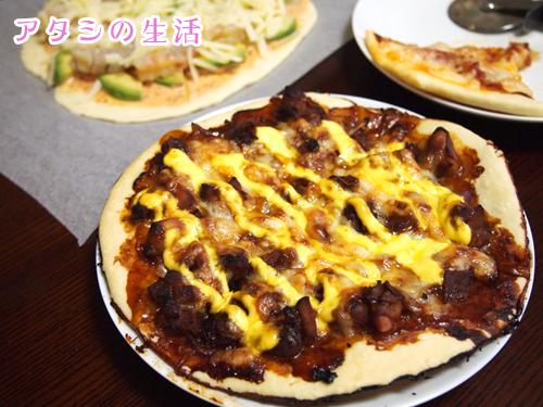 手作りピザ。照り焼きチキンピザ