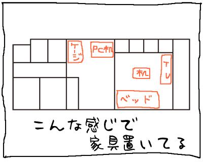1DKの我が家の家具配置