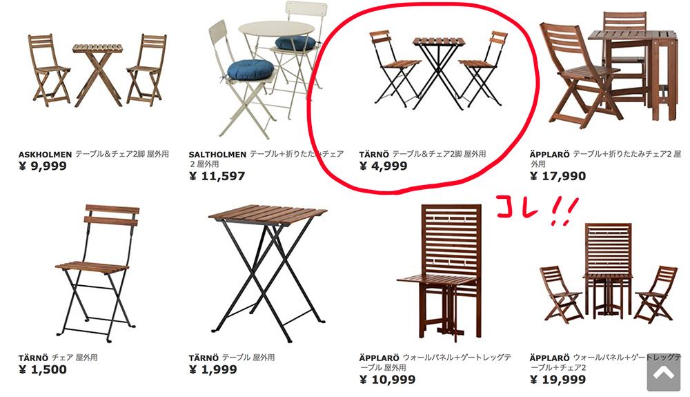 IKEAのテーブル椅子セット